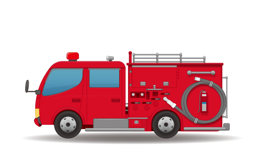 消防車 – ポンプ車の商用無料イラスト