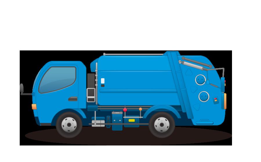 ゴミ収集車 – パッカー車の商用無料イラスト