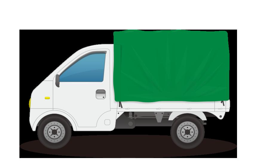 幌付き軽トラックの商用無料イラスト