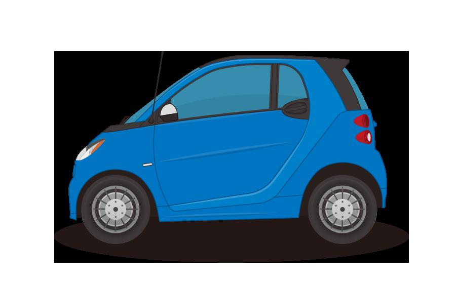 二人乗りコンパクトカーの商用無料イラスト