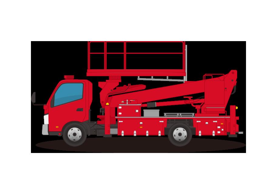 消防車(高所活動車)の商用無料イラスト
