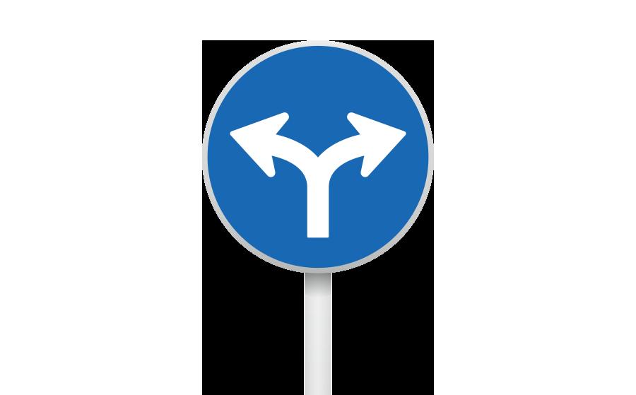 指定方向外進行禁止標識(直進禁止)の商用無料イラスト