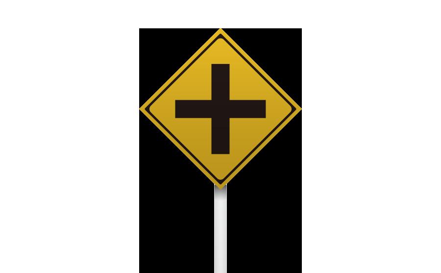 交差点警戒標識の商用無料イラスト