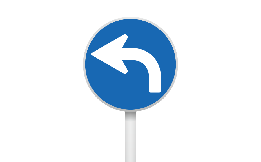 指定方向外進行禁止標識(直進・右折禁止)の商用無料イラスト