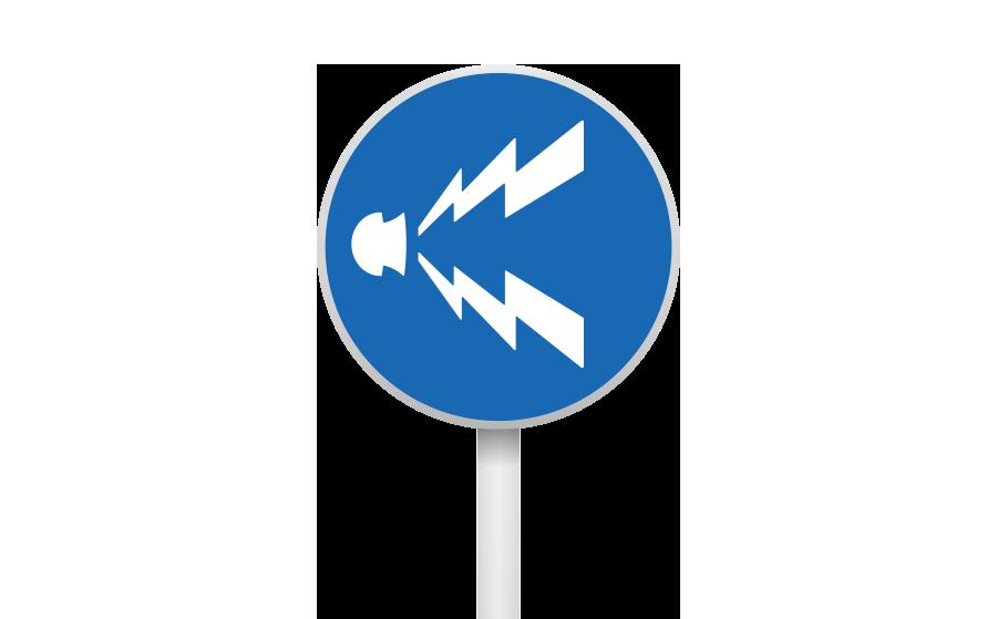 警笛鳴らせ標識の商用無料イラスト
