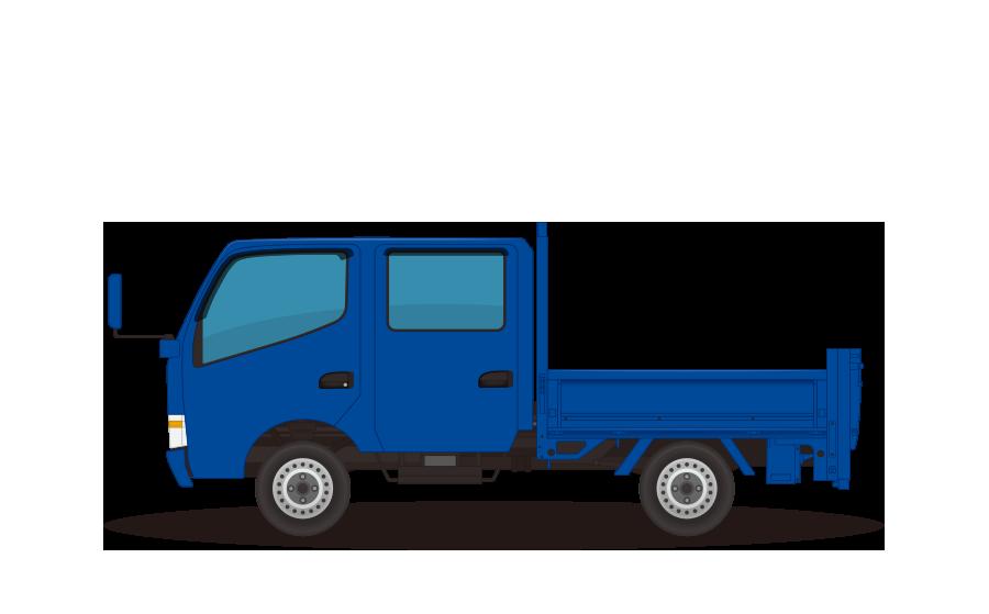 ダブルキャブ(6人乗り)トラックの商用無料イラスト