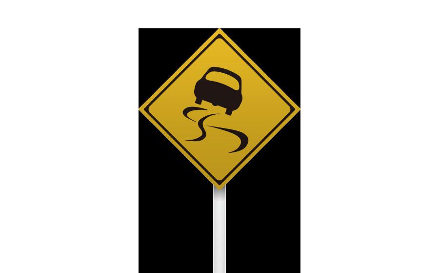 すべりやすい警戒標識の商用無料イラスト