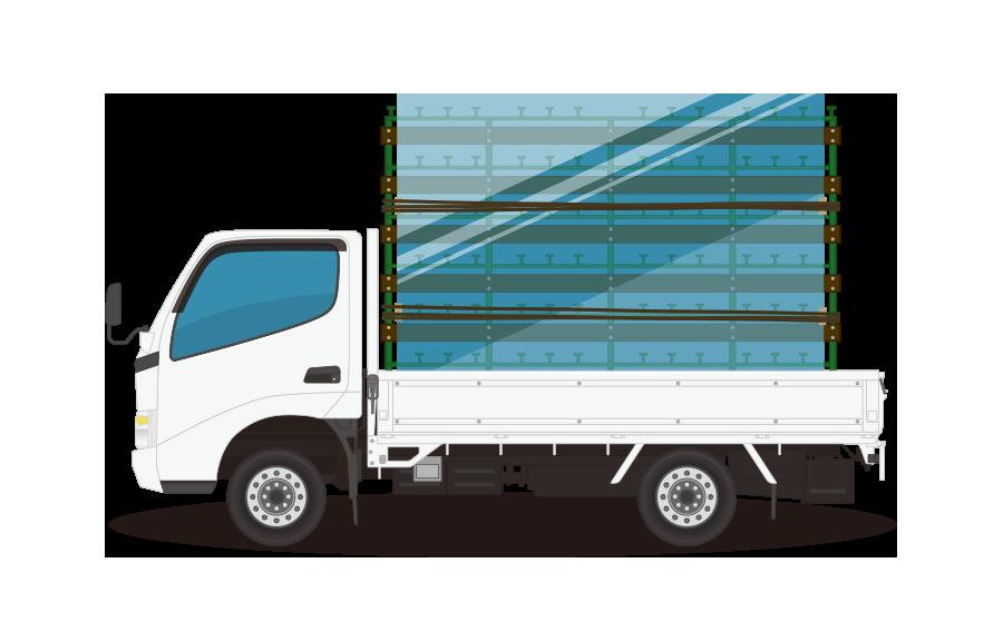 ガラス運搬トラックの商用無料イラスト